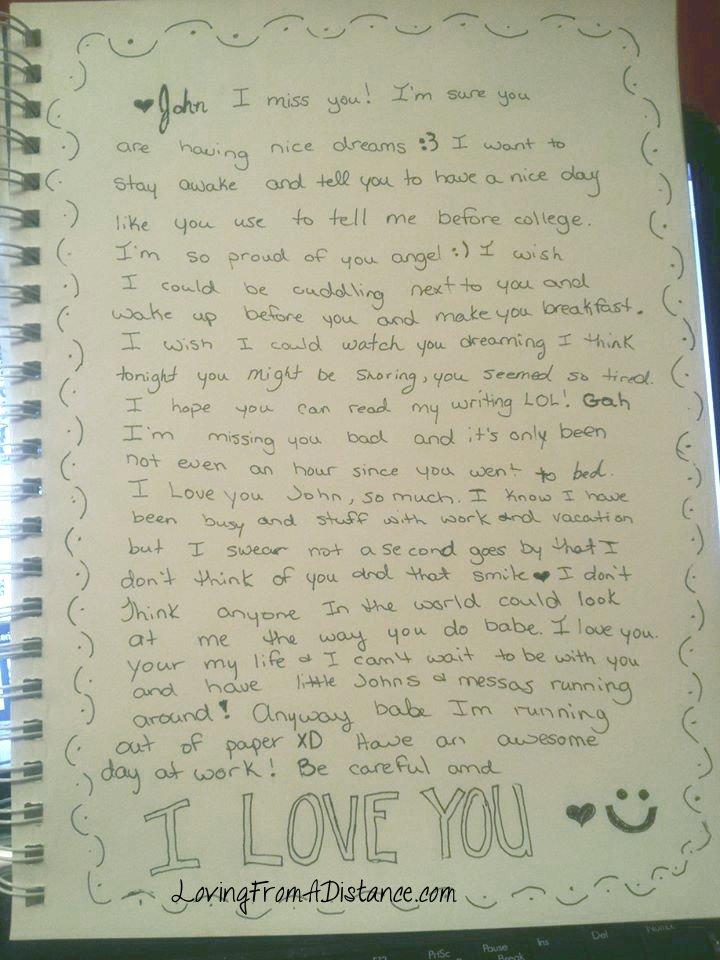 sample letter for long distance relationship