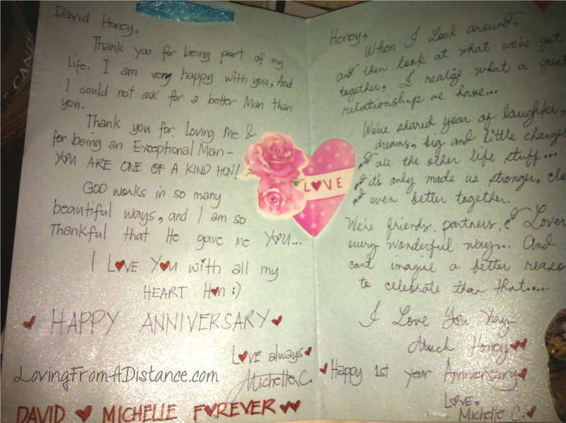 An Anniversary Card Long Distance Relationships