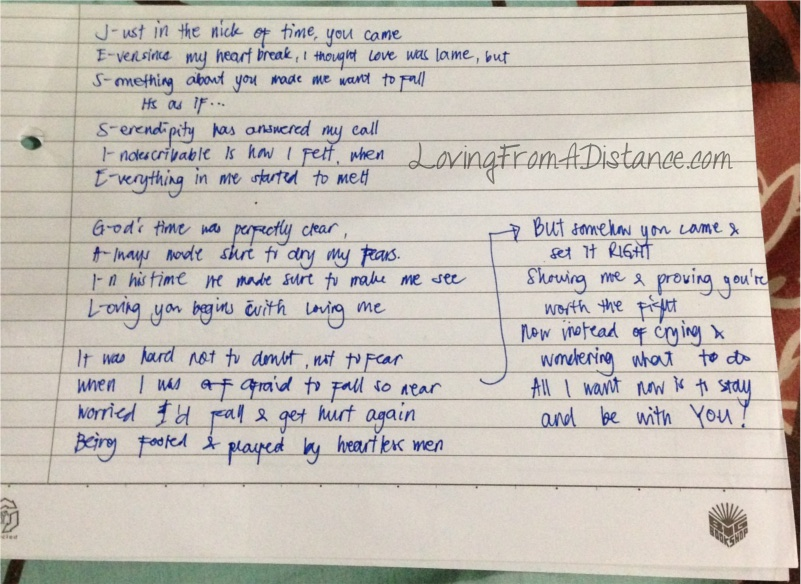 my boyfie is a seaman and for our first month sary he surprised m by serenading me via skype and i surprised him by making this poem out of his name