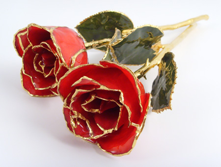 lacquered roses with 24kt gold