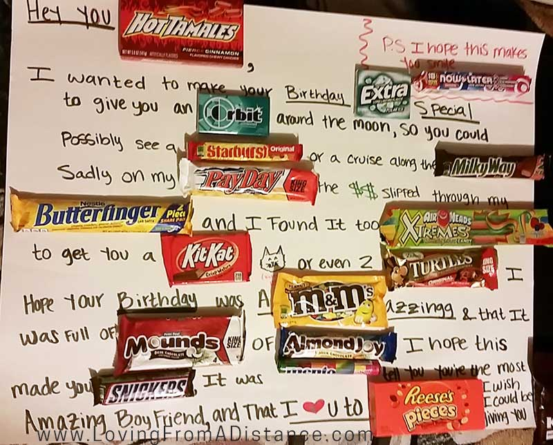 love letter made with candy poster board