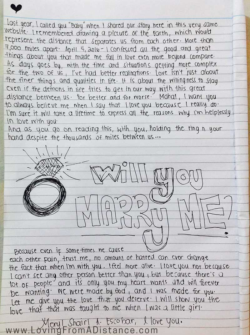 love letter will you marry me proposal
